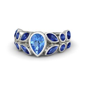 Pear Blue Topaz 14K White Gold Ring with Sapphire