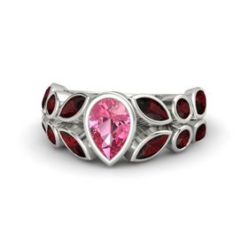Pear Pink Tourmaline 14K White Gold Ring with Red Garnet