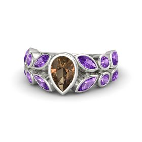 Pear Smoky Quartz 14K White Gold Ring with Amethyst