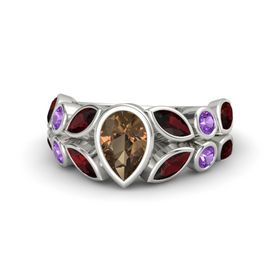 Pear Smoky Quartz 14K White Gold Ring with Red Garnet & Amethyst