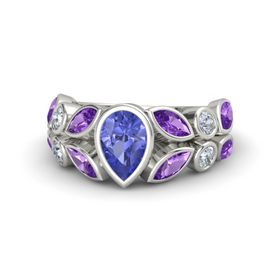 Pear Tanzanite 14K White Gold Ring with Amethyst & Diamond