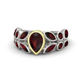 Pear Red Garnet 14K White Gold Ring with Red Garnet