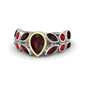 Pear Red Garnet 14K White Gold Ring with Red Garnet and Ruby