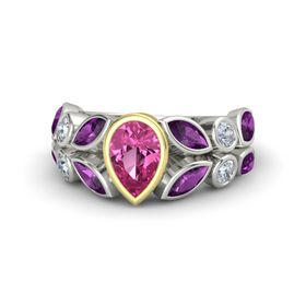 Pear Pink Sapphire 14K White Gold Ring with Rhodolite Garnet and Diamond