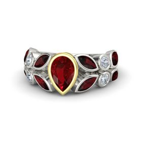 Pear Ruby 14K White Gold Ring with Red Garnet and Diamond