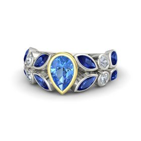 Pear Blue Topaz 14K White Gold Ring with Sapphire & Diamond
