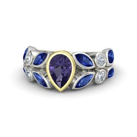 Pear Iolite 14K White Gold Ring with Sapphire & Diamond
