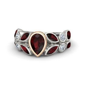 Pear Red Garnet 14K White Gold Ring with Red Garnet and Diamond
