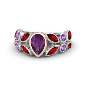 Pear Rhodolite Garnet 14K White Gold Ring with Ruby and Amethyst
