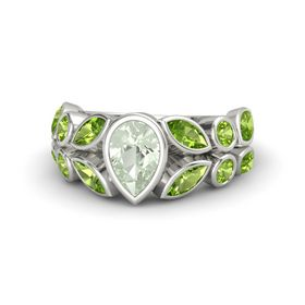 Pear Green Amethyst 14K White Gold Ring with Peridot