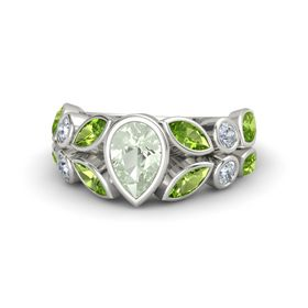 Pear Green Amethyst 14K White Gold Ring with Peridot and Diamond