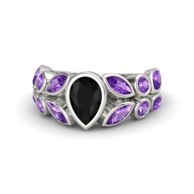 Pear Black Onyx 14K White Gold Ring with Amethyst
