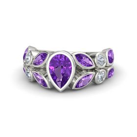 Pear Amethyst 14K White Gold Ring with Amethyst & Diamond