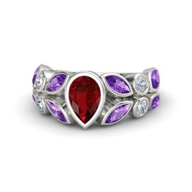 Pear Ruby 14K White Gold Ring with Amethyst and Diamond