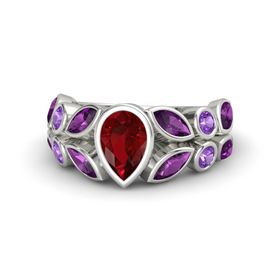 Pear Ruby 14K White Gold Ring with Rhodolite Garnet and Amethyst