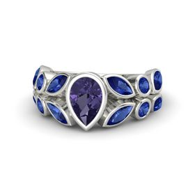 Pear Iolite 14K White Gold Ring with Blue Sapphire
