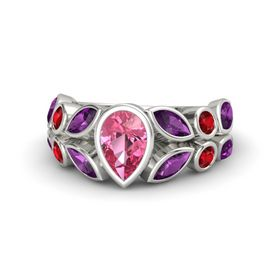 Pear Pink Tourmaline 14K White Gold Ring with Rhodolite Garnet and Ruby