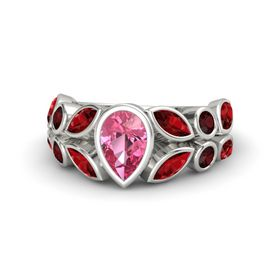 Pear Pink Tourmaline 14K White Gold Ring with Ruby and Red Garnet