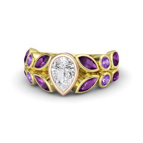 Pear White Sapphire 14K Yellow Gold Ring with Rhodolite Garnet and Amethyst