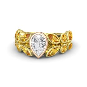 Pear White Sapphire 14K Yellow Gold Ring with Citrine