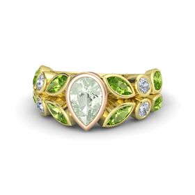 Pear Green Amethyst 14K Yellow Gold Ring with Peridot and Diamond