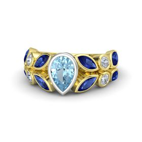 Pear Aquamarine 14K Yellow Gold Ring with Blue Sapphire and Diamond