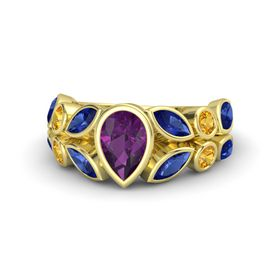 Pear Rhodolite Garnet 14K Yellow Gold Ring with Blue Sapphire and Citrine
