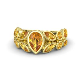 Pear Citrine 14K Yellow Gold Ring with Citrine