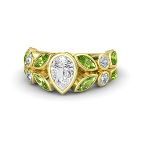 Pear White Sapphire 14K Yellow Gold Ring with Peridot & Diamond