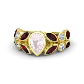 Pear Rose Quartz 14K Yellow Gold Ring with Red Garnet and Diamond