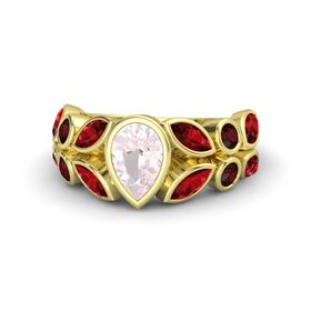 Pear Rose Quartz 14K Yellow Gold Ring with Ruby & Red Garnet