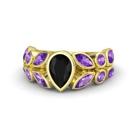 Pear Black Onyx 14K Yellow Gold Ring with Amethyst