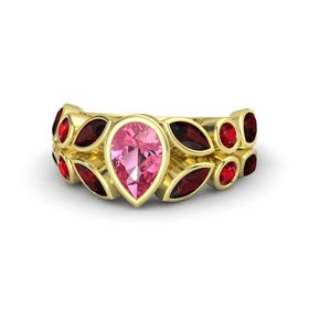 Pear Pink Tourmaline 14K Yellow Gold Ring with Red Garnet & Ruby