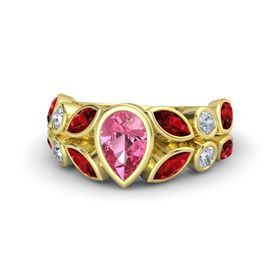 Pear Pink Tourmaline 14K Yellow Gold Ring with Ruby & Diamond