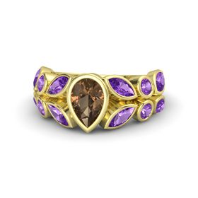 Pear Smoky Quartz 14K Yellow Gold Ring with Amethyst