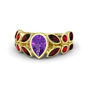 Pear Amethyst 14K Yellow Gold Ring with Red Garnet and Ruby