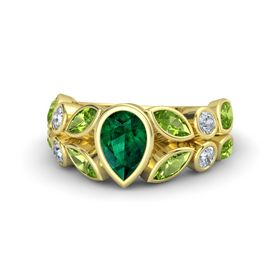 Pear Emerald 14K Yellow Gold Ring with Peridot and Diamond