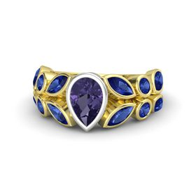 Pear Iolite 14K Yellow Gold Ring with Sapphire