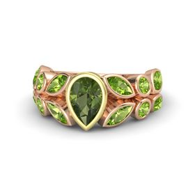 Pear Green Tourmaline 18K Rose Gold Ring with Peridot