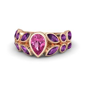 Pear Pink Sapphire 18K Rose Gold Ring with Rhodolite Garnet