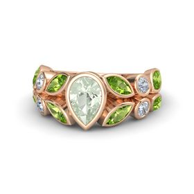Pear Green Amethyst 18K Rose Gold Ring with Peridot & Diamond