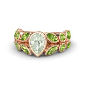 Pear Green Amethyst 18K Rose Gold Ring with Peridot