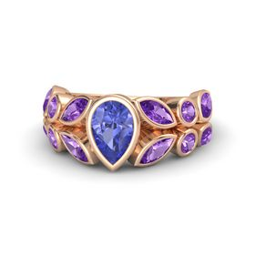 Pear Tanzanite 18K Rose Gold Ring with Amethyst