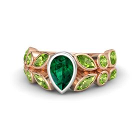 Pear Emerald 18K Rose Gold Ring with Peridot
