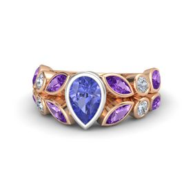 Pear Tanzanite 18K Rose Gold Ring with Amethyst & Diamond
