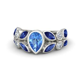 Pear Blue Topaz 18K White Gold Ring with Blue Sapphire and Diamond