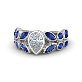 Pear Diamond 18K White Gold Ring with Blue Sapphire