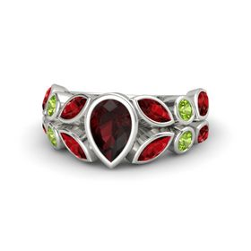 Pear Red Garnet 18K White Gold Ring with Ruby and Peridot