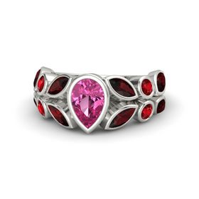 Pear Pink Sapphire 18K White Gold Ring with Red Garnet and Ruby