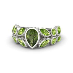 Pear Green Tourmaline 18K White Gold Ring with Peridot